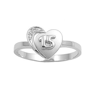 3486b90eaefa Plata de ley en forma de corazón 15 Años Anillo Zirconia cúbico  Royal  Design  Amazon.es  Joyería