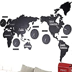 Fashionable Creative Wall Clock European 3D Wooden World Map Large Living Room Office Bedroom Decorative Wall Sticker Clock (Length 220Cm Height 105Cm),#3,B