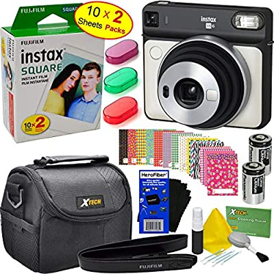Fujifilm Instax SQ6 - Cámara de fotos instantánea (color blanco perla) + Instax Square Twin Pack Film (