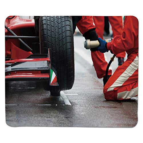SCOCICI Gaming Locking Mouse Pad,Professional Racing Team at Work Pit Stop Racecar Fast Tyre Changing Image Customized Rectangle Non-Slip Rubber Mousepad Gaming Mouse Pad 11.8