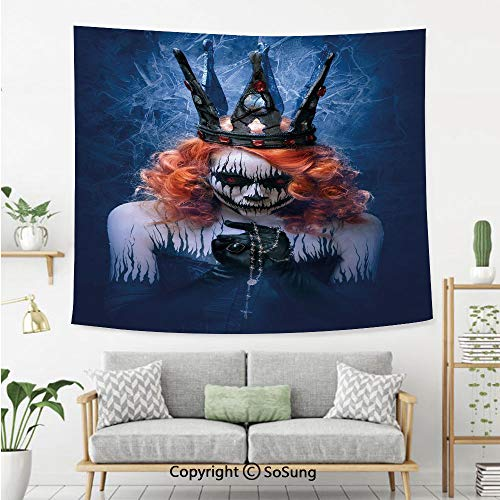 SoSung Queen Wall Tapestry,Queen of Death Scary Body Art Halloween Evil Face Bizarre Make Up Zombie,Bedroom Living Room Dorm Wall Hanging,60X40 Inches,Navy Blue Orange Black ()