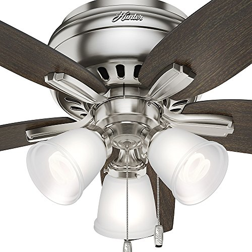 Hunter 51079 Hunter Newsome Low Profile with 3 Kit Ceiling Fan with Light, 42'', Brushed Nickel by Hunter Fan Company (Image #6)