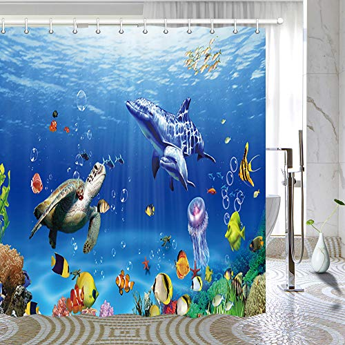 Marina Shower Curtain - Ocean Underwater Marine Life Shower Curtain, Sea World Animals Tropical Fish Dolphin with Turtles Coral Waterproof Kids Bathroom Decor Polyester Fabric Bath Curtains, Hooks Included, 69X70 Inches