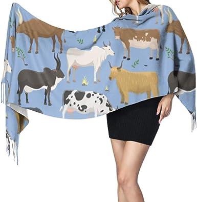 Conjunto Toros Vacas Animales de granja Ganado Cachemira Bufanda larga Bufanda de cachemira Bufanda grande de cachemira Pashmina: Amazon.es: Ropa y accesorios