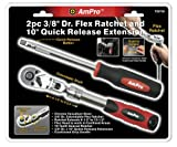 Ampro T29750 3/8-Inch Drive Flex Ratchet and 10-Inch Quick Release Extension, 2-Piece, Outdoor Stuffs