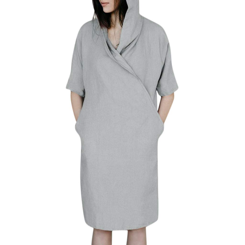 Women 1/2 Sleeved Cotton Linen Hoodie Dress,Ladies Solid Loose Pockets Dress,Summer Casual Tunic Dress