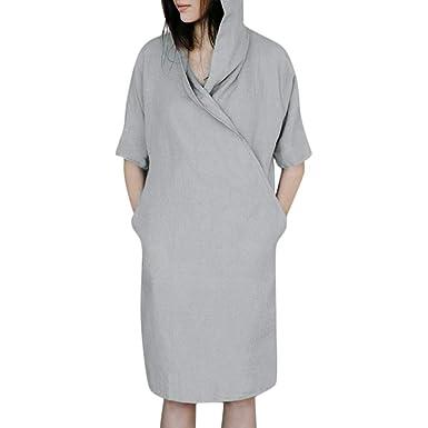 3f6dcb3466f0 ZhixiaYS Women's Cotton Linen Solid Bohemian Dress, Casual Loose 3/4 Sleeve  Button Turn Down Collar Tunic Top Dress Pocket at Amazon Women's Clothing  store: