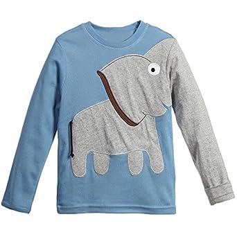 little boys girls long irregular sleeve elephant cotton pullover t shirt clothing. Black Bedroom Furniture Sets. Home Design Ideas