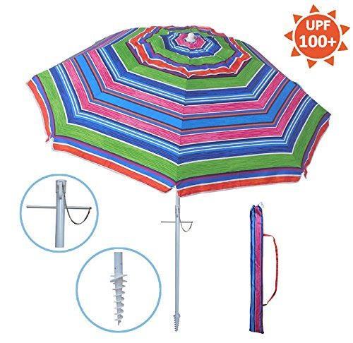 YATIO---7ft Beach Umbrella with Tilt and Integrated Long Sand Anchor, Windproof, Sun Protection SPF/UPF100+ , Multi Color Stripe