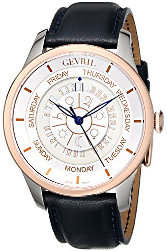 Gevril Columbus Circle Mens Swiss Automatic Blue Leather Strap Watch, (Model: 2003)