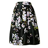 Lady Sakura Floral Patterns Black Midi Princess Skirt 25inches Long Summer Autumn Fashion Party Traveling Holiday Stretchy Pleated Polyster