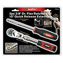 Ampro T29750 3/8-Inch Drive Flex Ratchet and 10-Inch Quick Release Extension, 2-Piece
