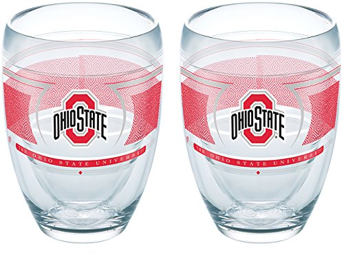 Tervis 1230345 Ohio State Buckeyes Reserve Insulated Tumbler with Wrap 2 Pack - Boxed 9oz Stemless Wine Glass - State Glass University Wine