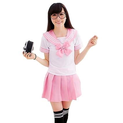 Colorfulworld Disfraz de colegiala, marinera, Anime, Uniforme, rosa, pequeño