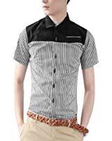 Men Point Collar Short Sleeve Round Hem Casual Shirt