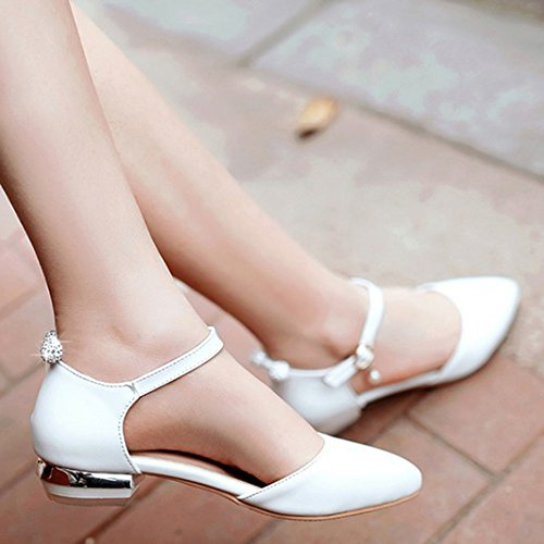 Easemax Womens Sweet Rhinestones Low Heels Chunky Ankle Strap Pumps White pipdO9g