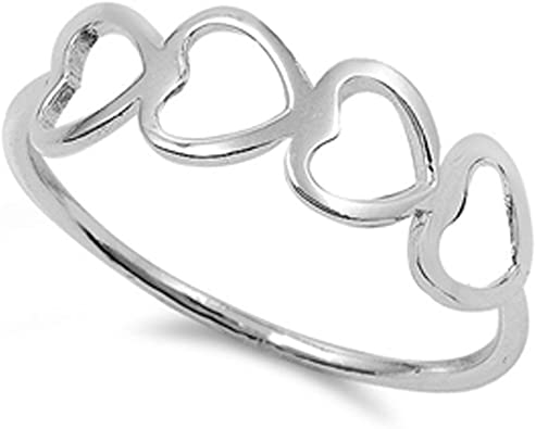 Girl/'s Love Heart Stackable Fashion Ring New 925 Sterling Silver Band Sizes 4-10
