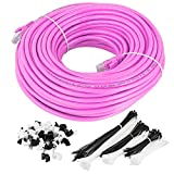 Maximm Cat6 Snagless Ethernet Cable - 150 Feet - Pink - Pure Copper - UL Listed - Cable Ties Included
