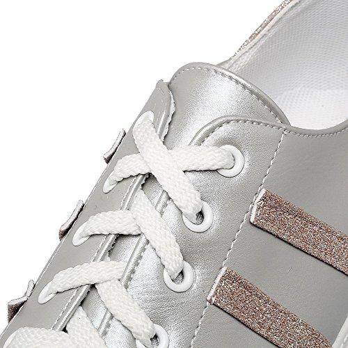 Allhqfashion Womens Pu Tacco Basso Scarpe Stringate Colore Argento Con Lacci Assortiti
