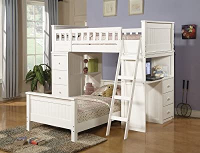 White finish wood loft bunk bed set with desk and drawers and lower twin bed