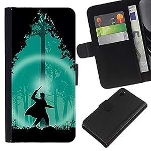 A-type (Assistant Vert Forêt Nuit Silhouette) Colorida Impresión Funda Cuero Monedero Caja Bolsa Cubierta Caja Piel Card Slots Para Sony Xperia Z3 D6603