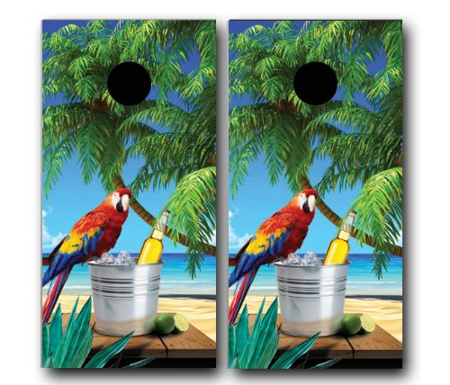 TROPICAL BEACH W/ PARROT SCENE CORNHOLE WRAP SET High Quality Vinyl Board DECAL Baggo Bag Toss Boards * MADE IN the USA * (Parrot Board)