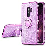 VEGO Galaxy S9 Plus (Not S9) Case Glitter Bling Diamond Case with Kickstand Rhinestone Bumper Sparkly Luxury Slim Soft Protective Case with Ring Stand for Samsung Galaxy S9 Plus (Purple)