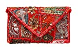 Brazeal Studio Women's Ethnic Embroidered Envelope Foldover Clutch