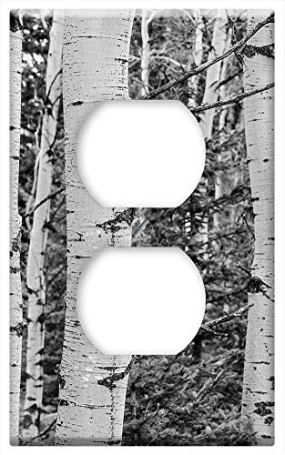 Switch Plate Outlet Cover - Tree Grove Black And White Aspen Trees White Grove (Outlets Grove)