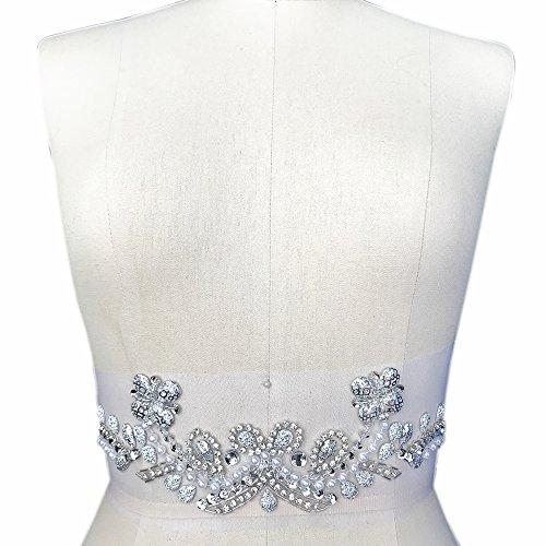 Handmade Beaded V-Neck Sequin Bling Sew On Neckline Rhinestone Crystal Trim  Bridal Applique Design a6a928974d07