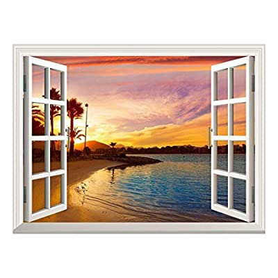Removable Wall Sticker/Wall Mural - Tropical Beach View at Sunset | Creative Window View Wall Decor - 24