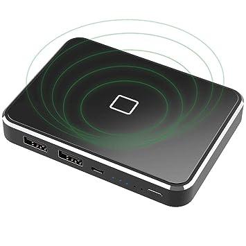 X-DRAGON Cargador inalámbrico de 13000 mAh, Cargador portátil Qi Certificado inalámbrico batería de Respaldo con Salidas USB Dobles y Entrada para ...