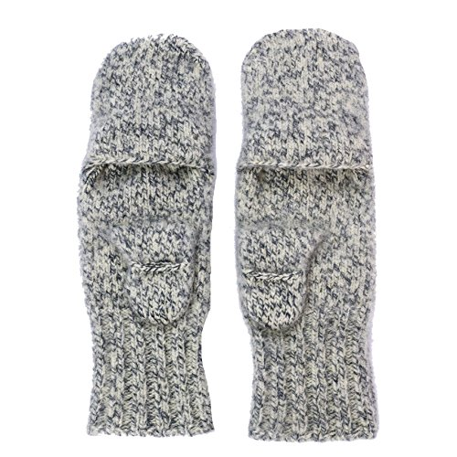 Dachstein Woolwear Boiled Wool Mittens with Finger Caps (6.5, Grey)