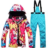 EDTara Women's Ski Snowsuit Hooded Jacket & Pants,Warm Waterproof Ski Jacket Pants Snow Windproof Skiing Snowboarding Suits