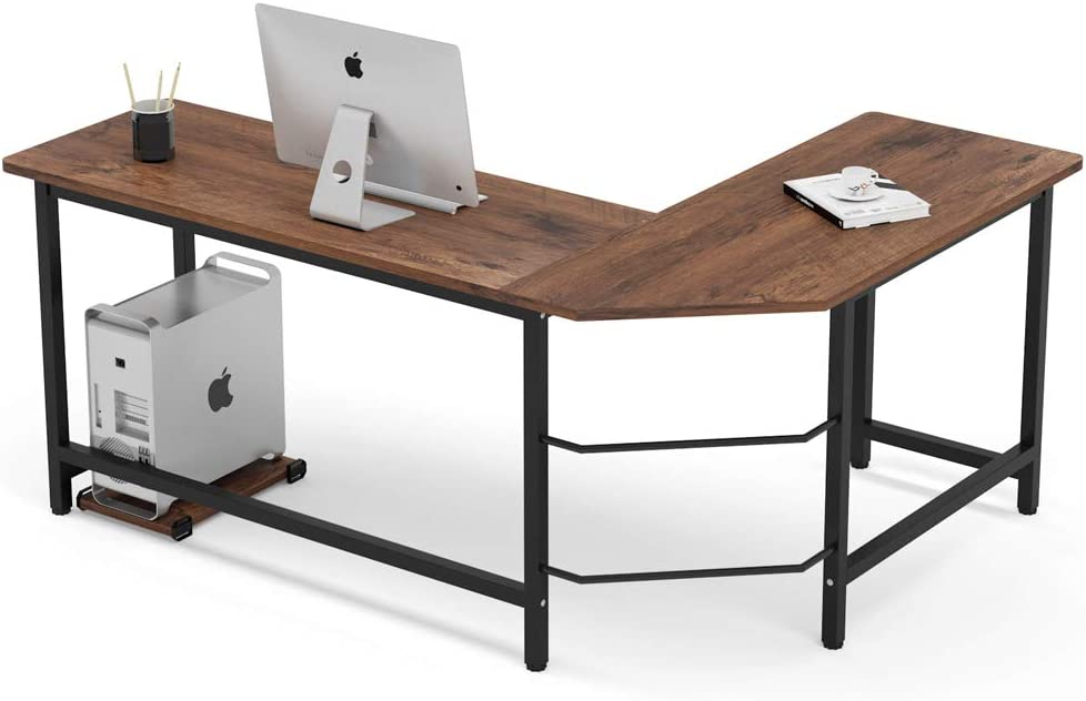 Tribesigns Industrial L-Shaped Desk, Corner Computer Desk PC Laptop Study Table Workstation for Home Office Wood & Metal, Rustic Brown