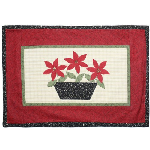 Poinsettia Applique Christmas Placemat By Park Designs - Holiday Clearance Sale