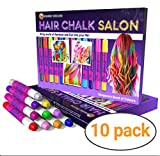 Desire Deluxe Hair Chalk for Girls Makeup Kit of 10 Temporary Colour Pens Gifts, Great Toy for Kids Age 5 6 7 8 9 10 11 12 13 Years Old