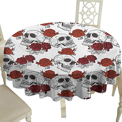 (longbuyer Round Tablecloth Skull,Retro Gothic Dead Head Skeleton Figures with Roses Halloween Theme Spooky Trippy Romantic,Grey D36,for)