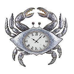 "CC Home Furnishings 27.25"" Metallic Silver and Gold Coastal Style Crab Decorative Metal Wall Clock"