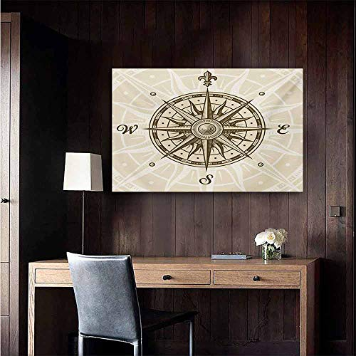 duommhome Compass Art Oil Paintings Sun Motif Backdrop with Windrose Directions East West North South Navigation Canvas Prints for Home Decorations 47