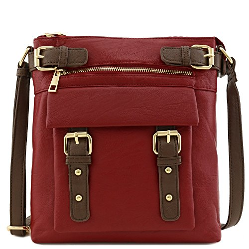 (Front Pocket Medium Crossbody Bag with Buckles Accent Burgundy)