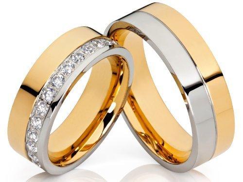 2 de alianzas y corazones Póster con anillos de compromiso alianzas de anillas Bicolor con circonitas