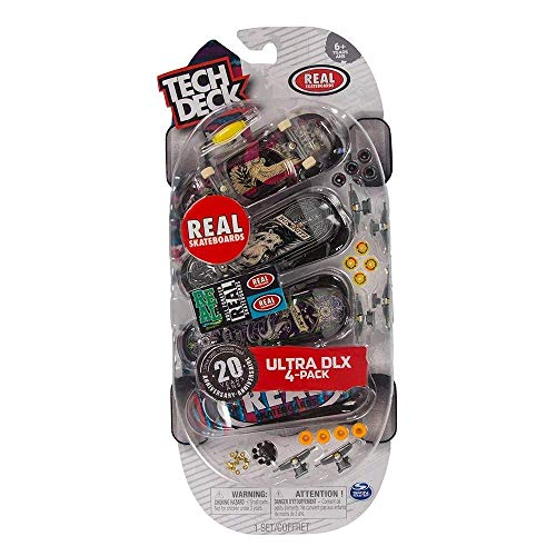 Tech Deck Ultra DLX 4 Pack 96mm Fingerboards - Real Rip 'n Dip Skateboards 20th Anniversary Special Edition (Fingerboard Tech Skateboard 96mm Deck)