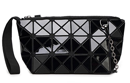 's Fashion Hologram Geometric Plaid Wristlet Purse Clutch Wallet Shoulder Handbags(Black) ()