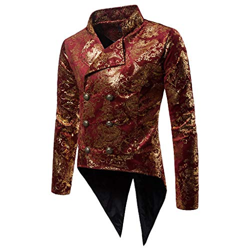 - iYBUIA Charm Men's Gilded Casual Fit Suit Blazer Coat Jacket Party Retro Tuxedo Tops Blouse S-XXL Red