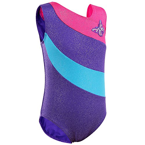 Toddler & Big Girls,One-piece Sparkle Stripes Gymnastics Athletic Leotard 2-16 Years (6A(Recommended age 4-5Y), PurpleSleeveless)