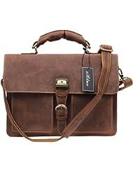 Iblue Vintage Full Grain Leather Expandable Briefcase Sturdy Laptop Shoulder Messenger Bag for Men#7164r