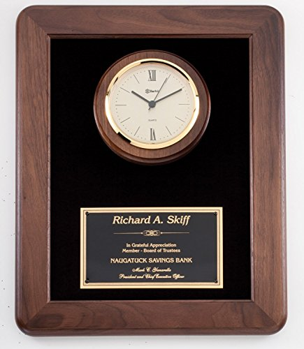 NWA Clock Wooden Award, Retirement, achievement award, Wedding, Anniversary, Graduation, Police, Corporate, Firefighters,sports Wooden Plaque, Customized, Engraving included ()