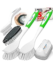 Holikme 5 Pack Kitchen Cleaning Brush Set, Dish Brush for Cleaning, Kitchen Scrub Brush&Bendable Clean Brush&Groove Gap Brush&Scouring Pad for Pot and Pan, Kitchen Sink