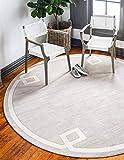 Unique Loom Uptown Collection by Jill Zarin Collection Greek Key Textured Modern Beige Round Rug (8' 0 x 8' 0)